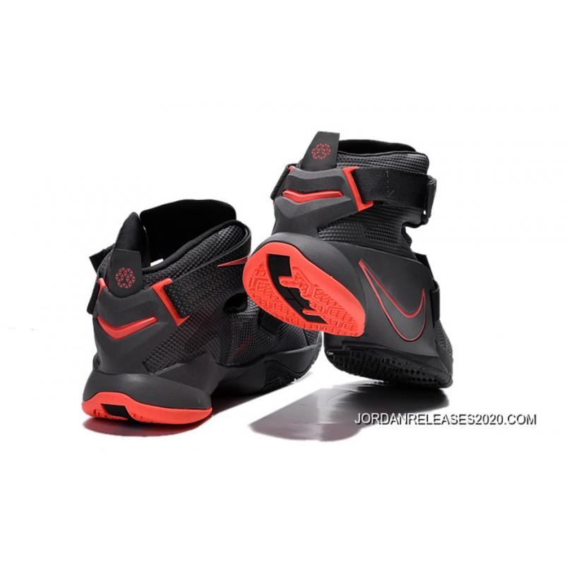 finest selection 3126c db090 ... Nike LeBron Soldier 9 Black And Red Highlights Basketball Shoe Top  Deals ...