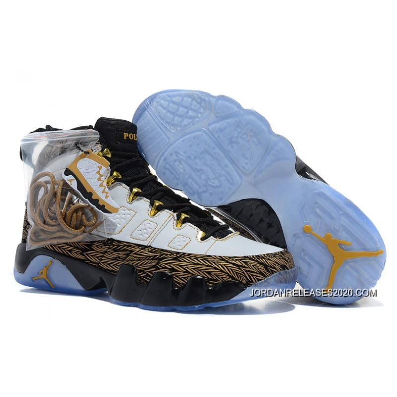 "fa548bbfa3a 2020 Copuon New Air Jordan 9 ""Doernbecher"" White/Metallic Gold-Black ..."