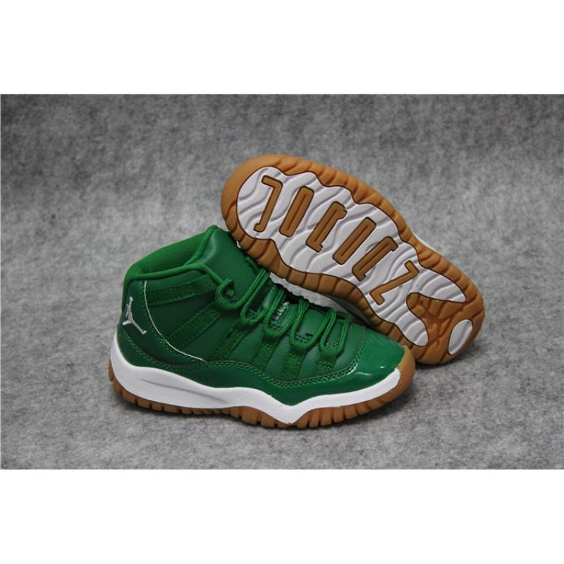 "2c557278b18d53 Kids Air Jordan 11 ""Green White"" Free Shipping ..."