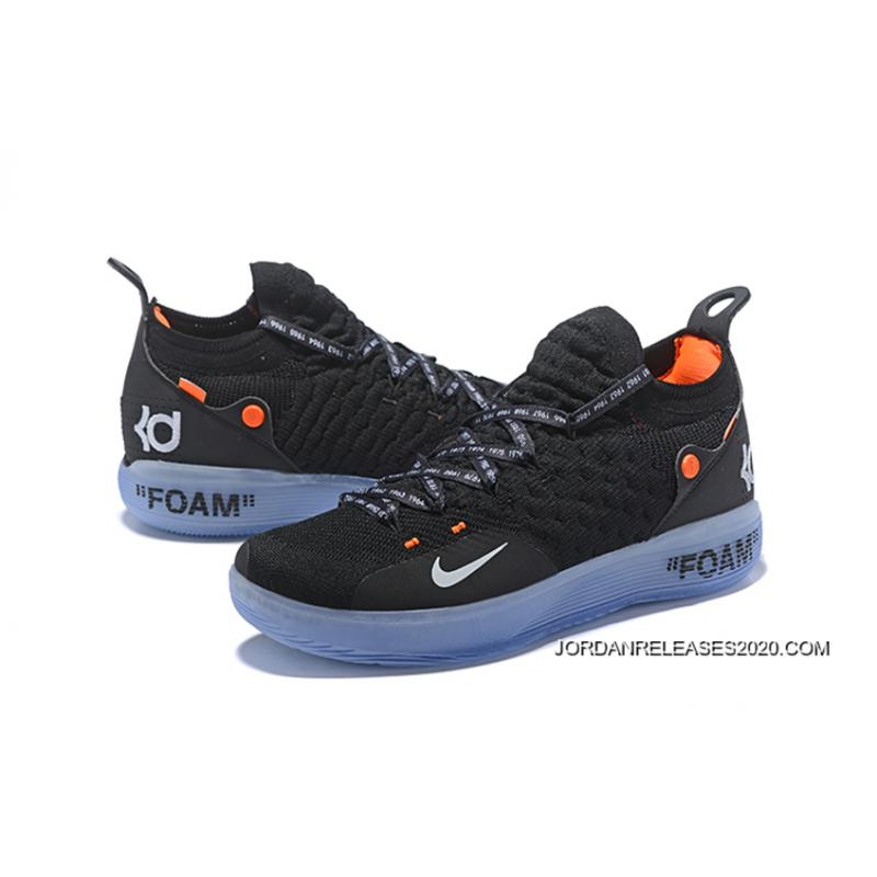 416fae42bb80 ... Off-White X Nike KD 11 Black White-Orange Men s Basketball Shoes Online  ...