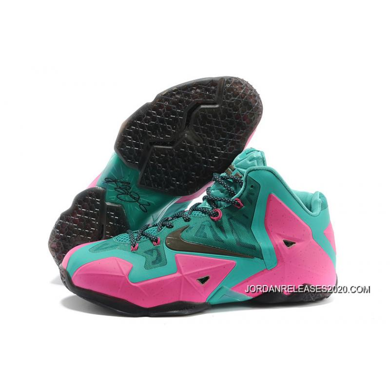 2020 Top Deals Nike LeBron James 11 Pink New Green-Black ... 45c77efce