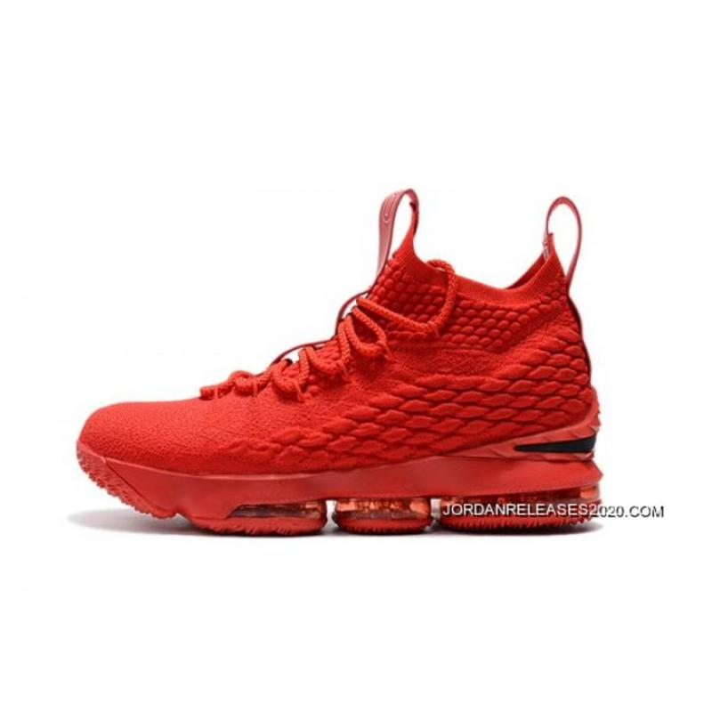 buy online ec940 db1ad Discount Men's Nike LeBron 15 Ohio State PE All-Red Basketball Shoes