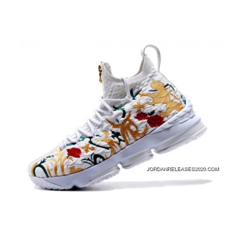 "Outlet KITH X Nike LeBron 15 ""Floral"" White Floral-Gold Men s Basketball ... 180486e92"