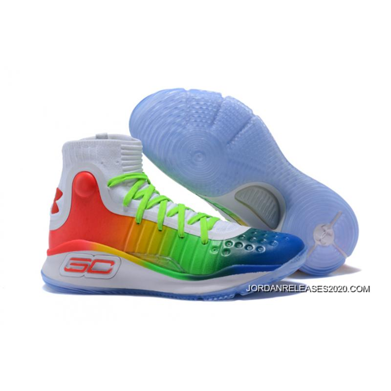 """9a74fd15500a Super Deals Under Armour Curry 4 """"Multi-Color"""" White Green Red ..."""