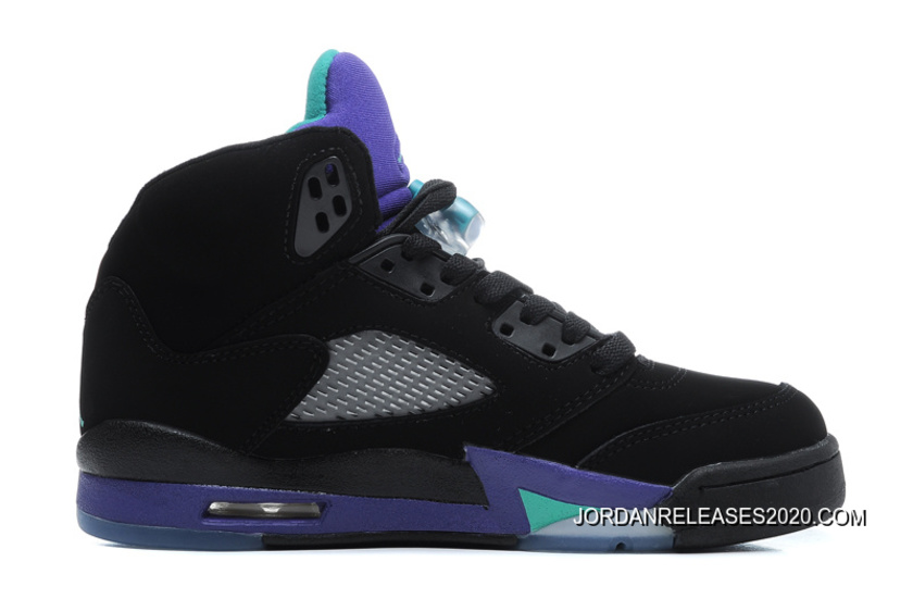 4ca1639fa84 2020 Top Deals New Air Jordan 5 Retro Black/New Emerald-Grape Ice ...