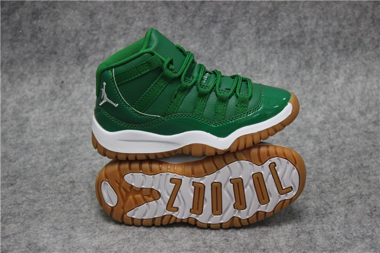 "413ce2ba64b477 Kids Air Jordan 11 ""Green White"" Free Shipping"