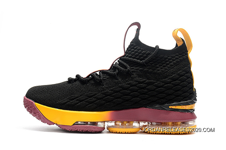 "0bae17dda09 For Sale Nike LeBron 15 ""Cavs"" Black Yellow Wine"