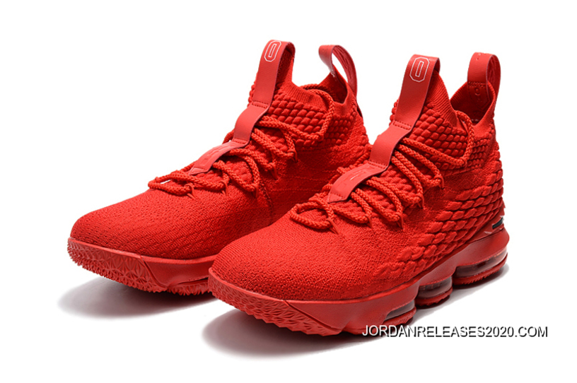 8bf5fbd0a3a Discount Men s Nike LeBron 15 Ohio State PE All-Red Basketball Shoes ...